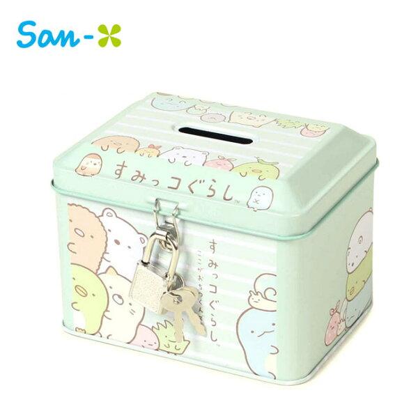 綠色款【日本正版】角落生物鐵盒存錢筒小費盒收納盒附鑰匙可上鎖角落小夥伴San-X-063291