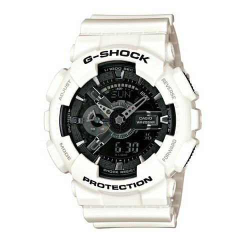 CASIO G-SHOCK GA-110GW-7A酷白流行腕錶/黑面51mm