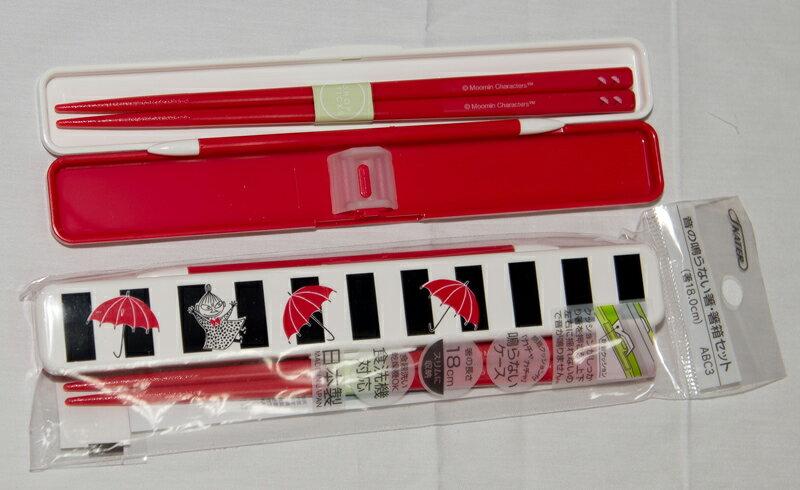 MOOMIN 小不點亞美 無噪音 筷子組附保存盒 日本製 正版商品