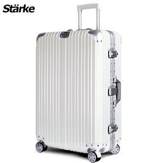E&J【008001-01】starke 德國設計28吋 PC+ABS 鏡面鋁框硬殼行李箱 axspk6007 -白色