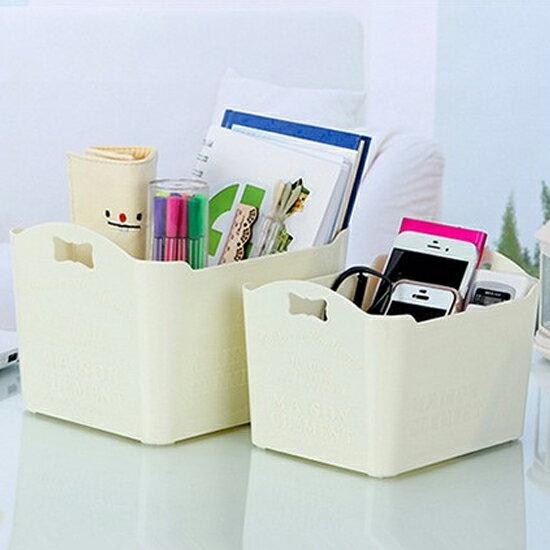♚MY COLOR♚時尚雕花桌面收納盒(小) 手提 雜物 分類 浮雕 化妝品 浴室 客廳 臥室【A22】