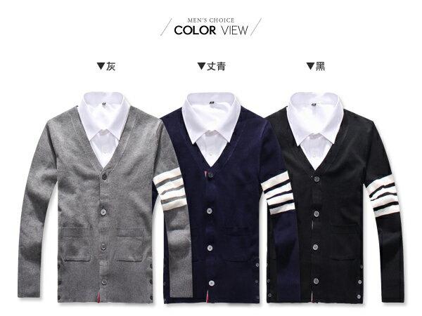 ☆BOY-2☆【PPK88041】英倫風V領條紋袖針織毛衣外套 1