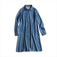 牛仔/丹寧服飾到日本空運nissen  -女裝-混人造絲長牛仔襯衫-藍色系