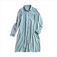 牛仔/丹寧服飾到日本空運nissen  -女裝-混人造絲長牛仔襯衫-蔚藍色系