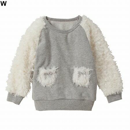 【NISSEN】童裝 拼接袖背絨針織衫 - 限時優惠好康折扣