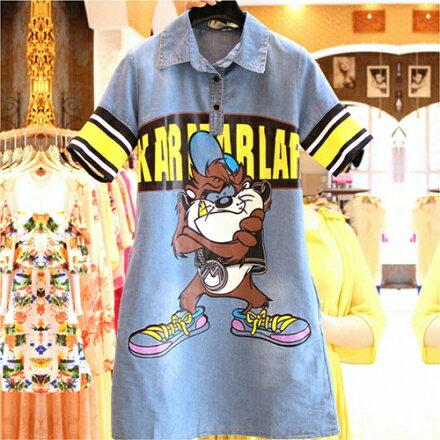 寬鬆卡通字母牛仔襯衫連身裙(2色M~L)
