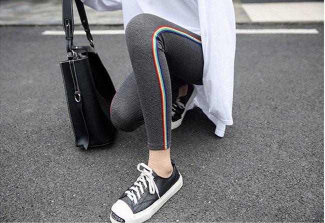 長褲 素色 側邊 彩色條紋 運動 小腳褲 貼身 內搭 長褲【MZEJ17024】 BOBI  09 / 05 4