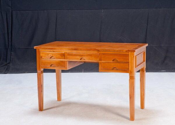 【石川家居】KL-81柚木4.2尺5抽書桌會議桌寫字桌台中以北搭配車趟免運費