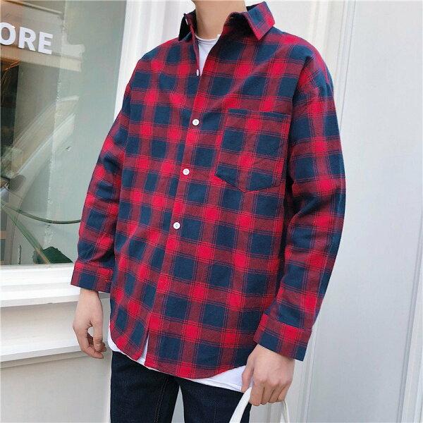 FINDSENSEH12018外套長袖休閑學生上衣男士寬松格子襯衫韓國男裝襯衣