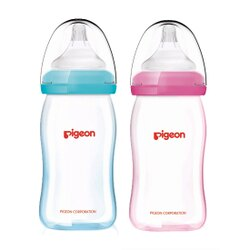 PIGEON 貝親 矽膠護層寬口母乳實感玻璃奶瓶160ml (藍/粉)【悅兒園婦幼生活館】