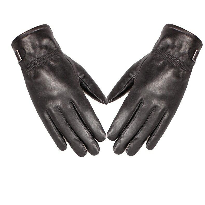 真皮手套保暖手套-羊皮加絨皮扣黑色女手套73wm69【獨家進口】【米蘭精品】 0