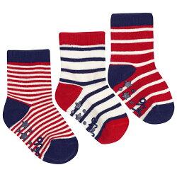 【hella 媽咪寶貝】英國 JoJo Maman BeBe 柔細寶寶兒童短襪/棉襪 3入組_紅白條紋(JJS3-008)