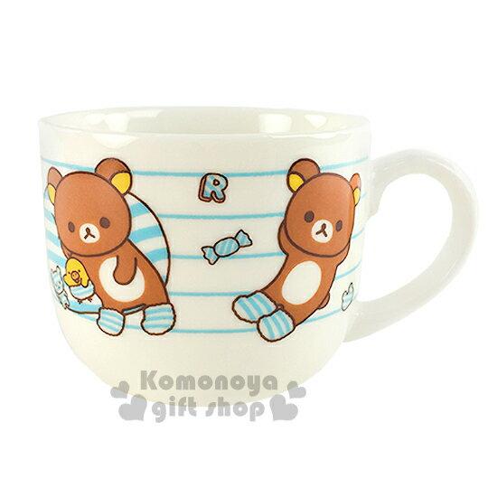 〔小禮堂〕懶懶熊 陶瓷馬克杯~白藍.糖果.北極熊.條紋.250ml~