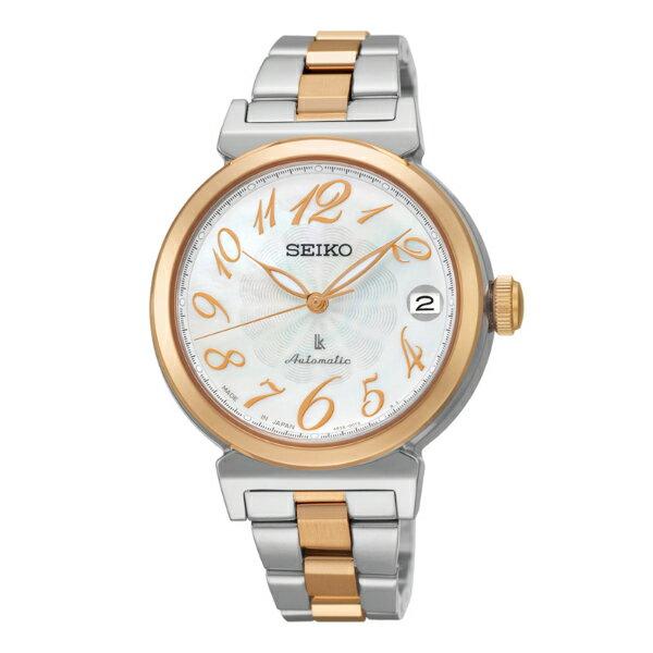 Seiko Lukia 4R35-00J0KS(SRP872J1)雙色典雅玫瑰金機械腕錶/白貝面34.6mm