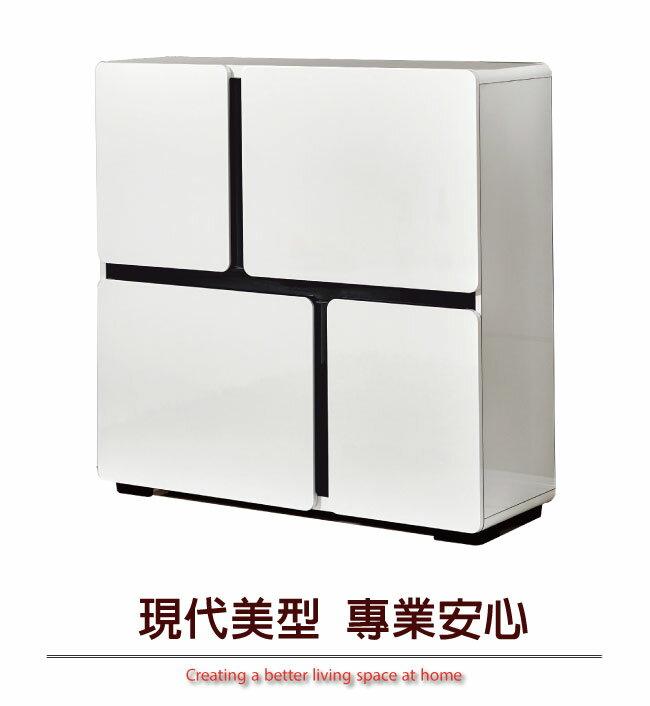 【綠家居】法蘭西斯 現代白3.3尺四門鞋櫃/玄關櫃