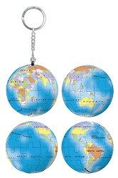 藍色地球立體球型拼圖鑰匙圈24片