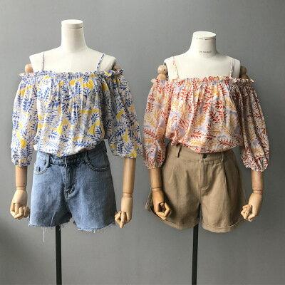 女裝露肩一字領吊帶襯衫印花上衣樂天時尚館。預購