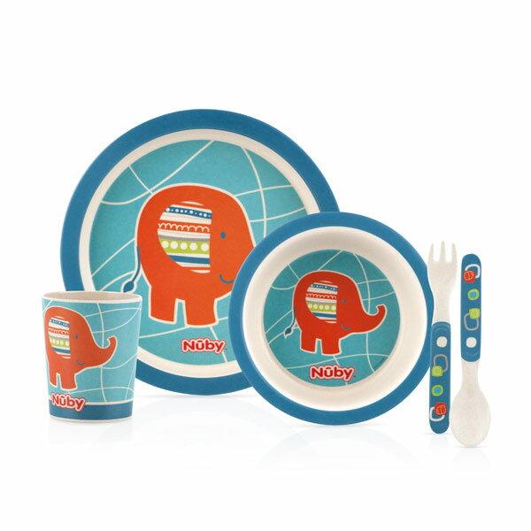 Nuby 竹纖維兒童學習餐具5件組-大象【悅兒園婦幼生活館】