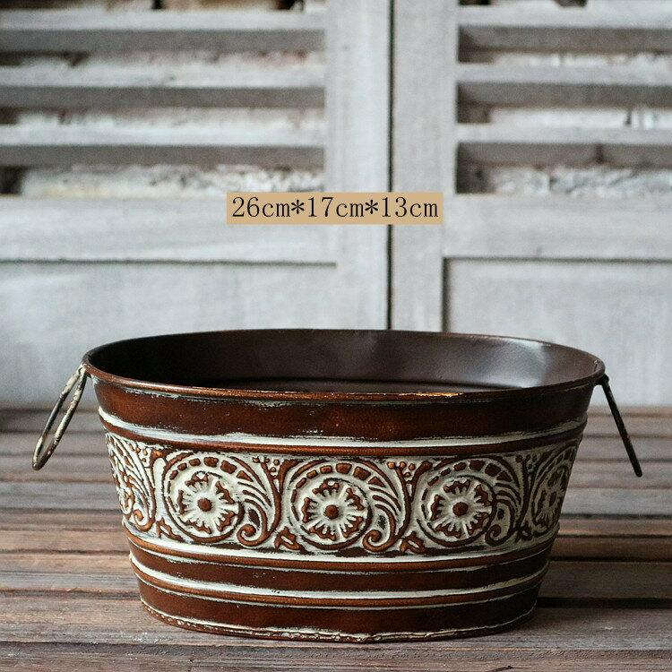 歐式復古鐵藝花瓶 仿古董樣花盆器 櫥窗陳列店鋪裝飾 做舊孤品1入