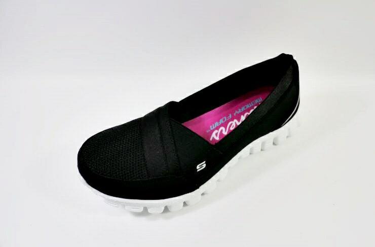 [陽光樂活] Skechers 女鞋 休閒鞋 工作鞋 娃娃鞋 EZ Flex 2 Quipster -22672BKW 黑