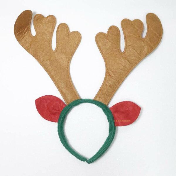 塔克玩具百貨:聖誕節耶誕節鹿角髮圈鹿角髮夾麋鹿髮箍麋鹿麋鹿角(棕色)帶耳麋鹿髮箍頭飾【塔克】