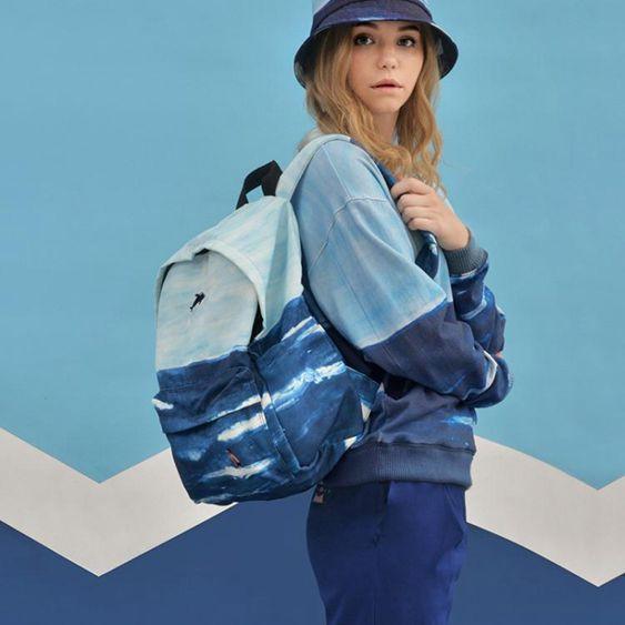風景印花後背包男女休閒背包高中學生書包大容量電腦包