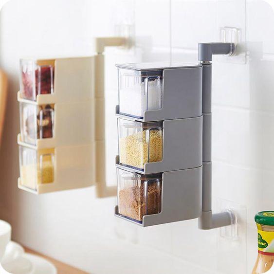 調味罐掛壁式調料盒塑膠調味罐套裝廚房味精鹽罐調味盒調料罐調味料盒