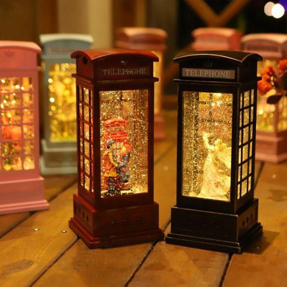 雪花水晶球音樂盒飄雪送女生公主情侶擺件八音盒情人節小夜燈禮物