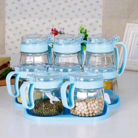 調味罐放鹽調味盒佐料調料盒廚房套裝調味料瓶家用調料罐玻璃鹽罐組合裝