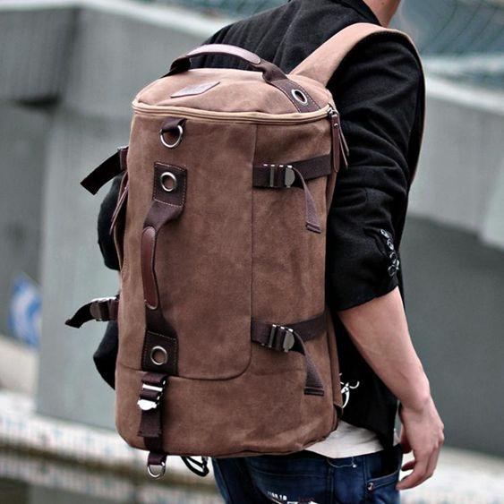 大容量筒包男後背包潮男帆布包戶外旅行背包圓筒包多功能後背包背包