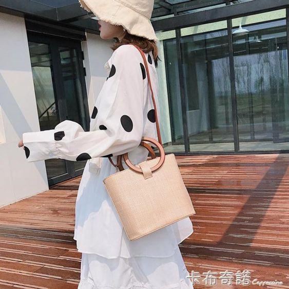 草編包女新款夏天復古斜背水桶包ins度假沙灘包大容量手提包
