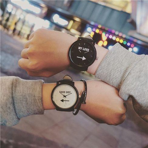 韓版大錶盤黑白中學生男情侶手錶一對復古皮帶女生時尚潮流男1對