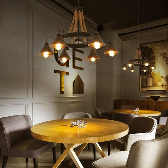 工業風吊燈麻繩懷舊loft鐵藝服裝店火鍋網咖創意復古餐廳客廳燈具