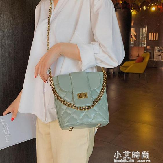 水桶包高級感小包包女2019新款韓版百搭菱格鏈條包時尚質感洋氣水桶包