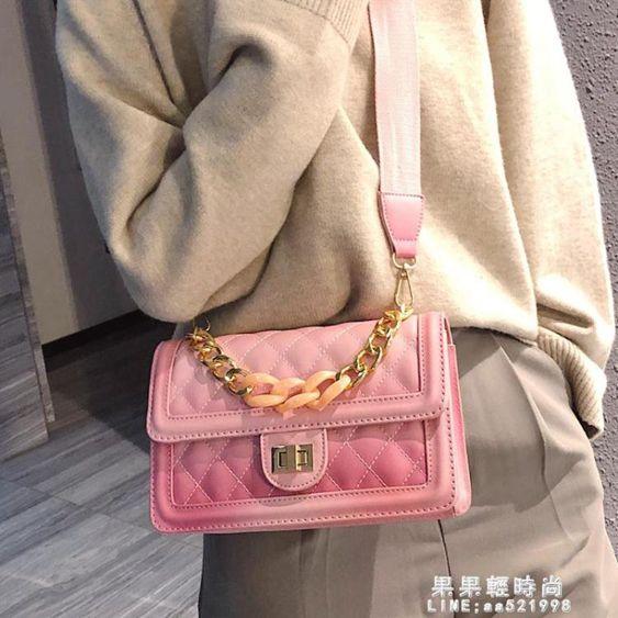 小包包女潮韓版百搭側背包菱格?條單肩高級感小方包