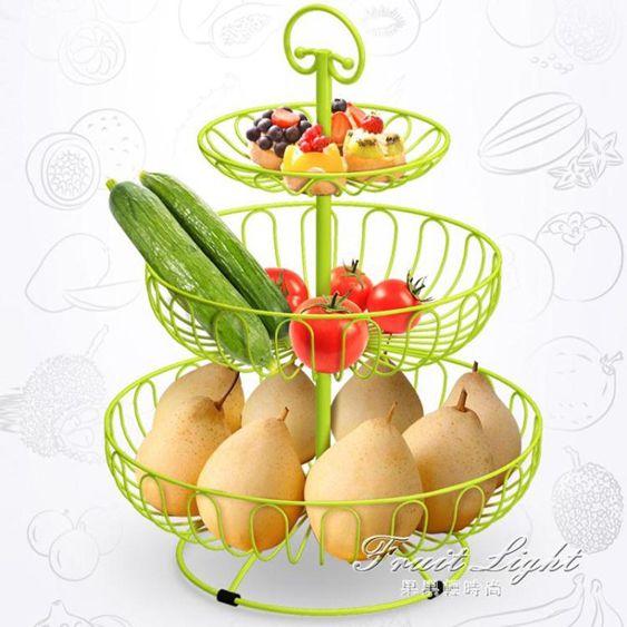 果盤果籃多層大容量水果籃歐式金屬果盤創意果盆客廳三層水果盤現代乾果盤