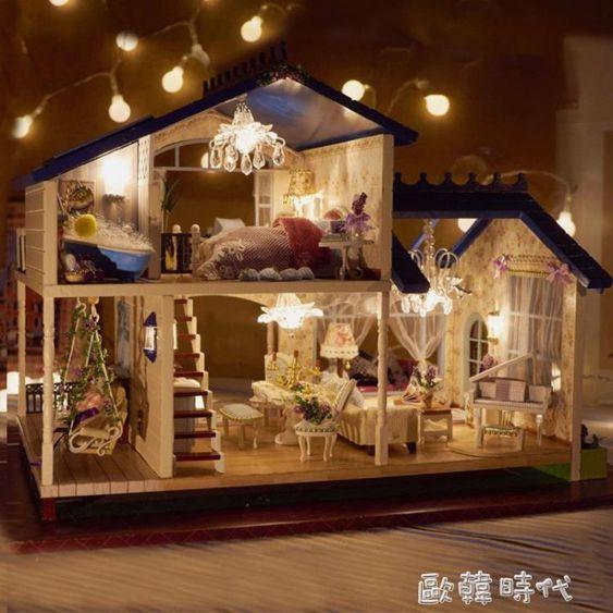 創意成人生日禮物diy小屋小房子手工制作模型別墅藝術屋閣樓
