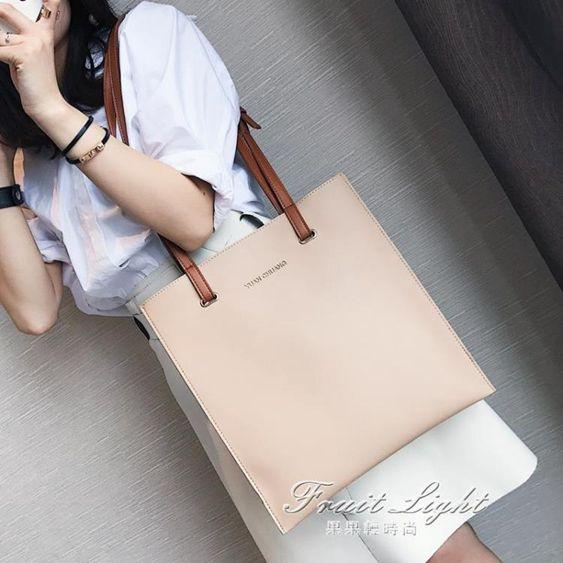 女包包新款日韓版時尚潮托特包簡約百搭撞色手提包單肩包大包
