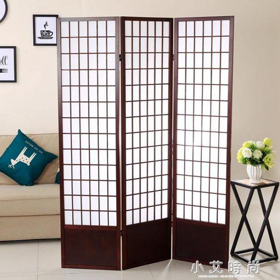 日式無紡布帶檔板摺疊實木料理店屏風和風簡潔行動隔斷