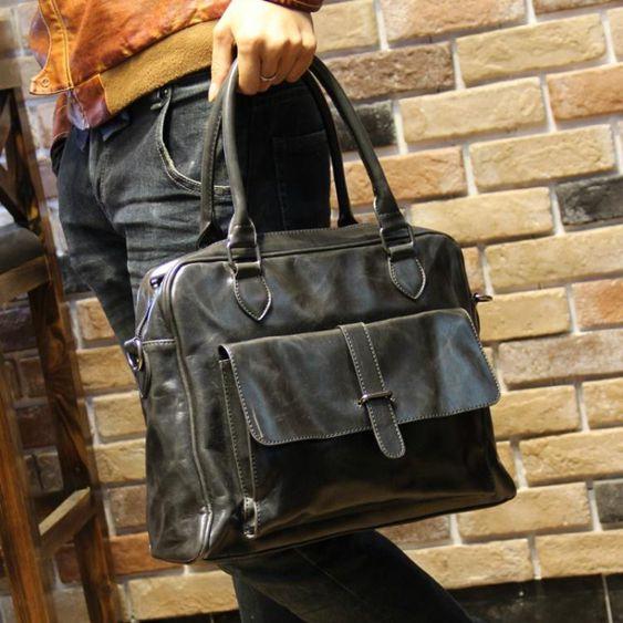 新款男包單肩包側背包男士包包手提包休閒韓版潮流包復古旅行包