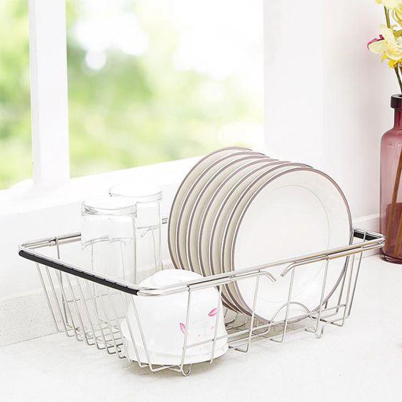 水槽瀝水架廚房不銹鋼晾放碗架家用水槽置物架洗碗池瀝水架瀝水籃