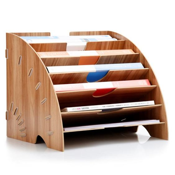 木質桌面收納盒辦公用品整理置物框收納文件架多層A4資料書架