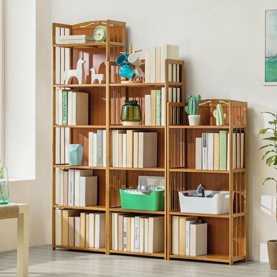 木馬人簡易書架收納置物架簡約 實木多層落地兒童桌上學生書櫃