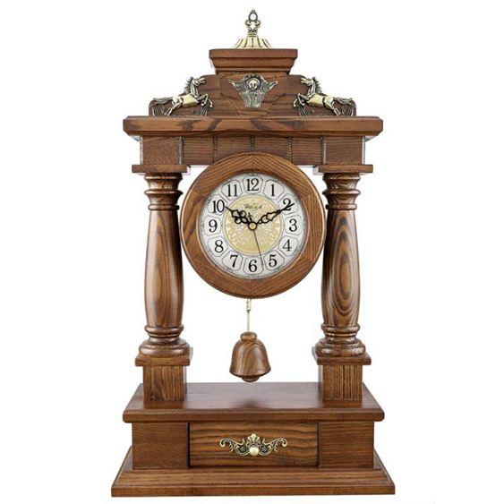 客廳歐式座鐘實木鐘表麗聲仿古臺鐘大號時鐘創意擺鐘石英坐鐘擺件