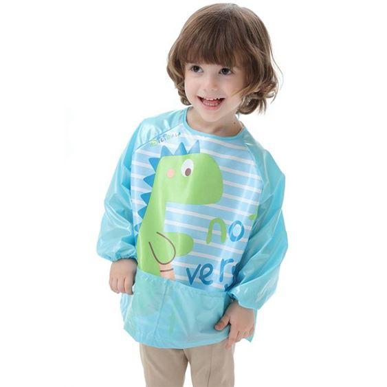 兒童罩衣長袖寶寶吃飯罩衣防水反穿衣兒童圍裙小孩畫畫防污衣