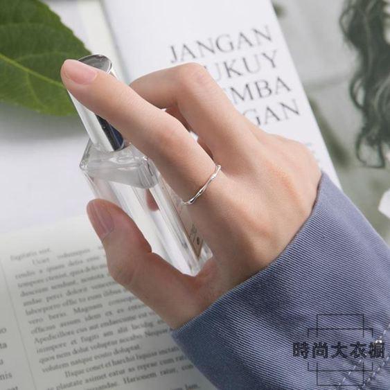 戒指女時尚韓版簡約開口食指戒可調節純銀