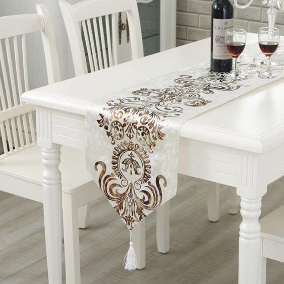 桌巾現代簡約時尚桌旗歐式奢華中美式北歐餐桌茶幾桌布床旗床尾巾桌巾