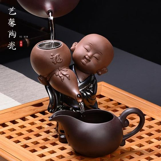 創意小和尚紫砂茶漏功夫茶具道配件陶瓷沙彌泡茶過濾器網