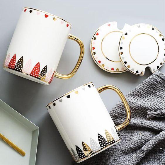 陶瓷馬克杯情侶簡約水杯茶杯咖啡杯杯子帶蓋