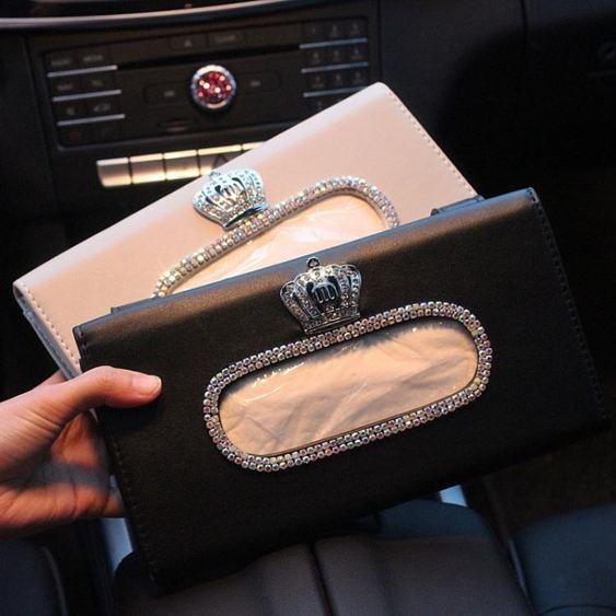 皇冠車飾奔馳寶馬奧迪車用遮陽板式紙巾盒皮紙巾套女